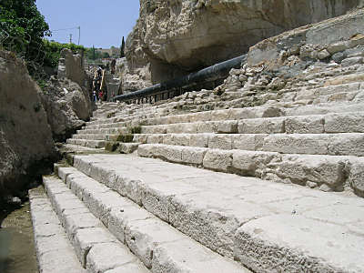 Steps leading down to the Pool of Siloam (photo from BiblePlaces.com)