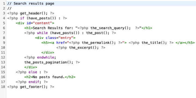 php code for Search Results page