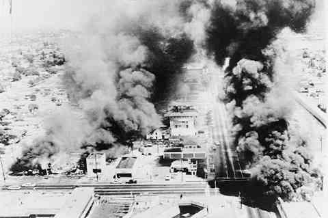 Smoke from Watts riots, 1965.