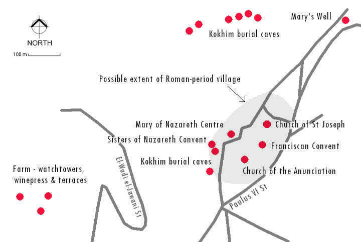 Map of Nazareth showing Romans period archaeological sites