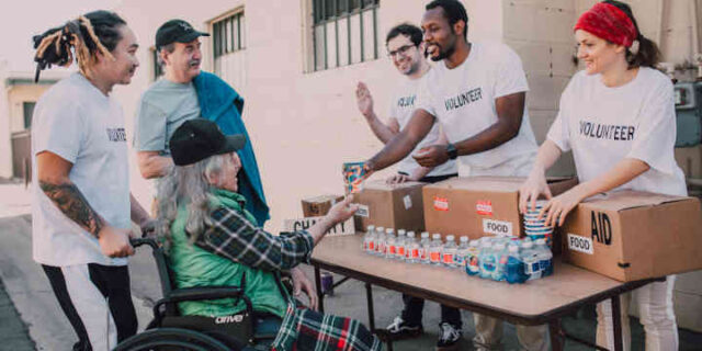 Volunteers helping those in need